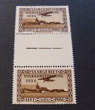 "GERMANIA,Germany  Reich SARRE SAARGEBIET 1934 ""Aereo SVR"" 5 Fr Pair MH Mi 198 ZS"