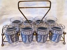 JEANETTE GLASS Blue Wedgewood HELLENIC GREEK Barware SHOT GLASS SET w/ Caddy
