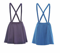 NEW WOMENS PLAIN BRACE LADIES DUNGAREE SKATER SKIRT PURPLE AND TEAL 8 10 12 14