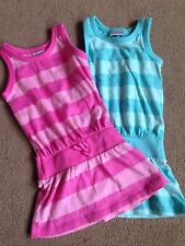 BNWT NEXT 2 Pack Pink Aqua Stripe Sun T-Shirt Dress Dresses 3-6 Months