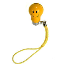SMILEY FACE BELL CHARM Mobile Cell Phone Strap Brass NEW Yellow Emoticon Craft