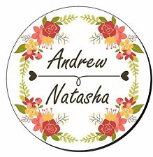 20 Personalised Floral Round Wedding Stickers Labels Favour Decorations SC0107