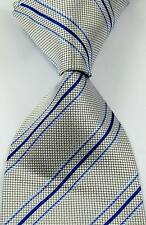 New Classic Striped Check Sliver Blue JACQUARD WOVEN Silk Men's Tie Necktie BR02
