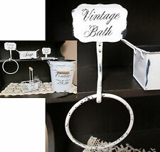 Iron Bathroom Towel Ring Distressed White SHABBY CHIC Vintage Bath Collection