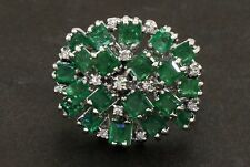 18k white gold 3.66ct diamond and emerald cluster cocktail ring size 7.25