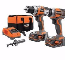 Ridgid R9600 18V Compact Drill and Impact Driver Combo Kit w/ 2X Battery R9602