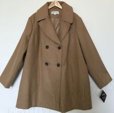 Womne's Ava & Viv Plus Size 4X Jacket Pea Coat Tan Camel Wool Double Breasted