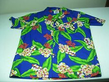VINTAGE PURPLE BLUE FLORAL HILO HATTIES MADE IN HAWAII SUMMER BUTTON UP SHIRT  L