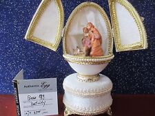 AUTHENTIC DECORATED GOOSE EGG WITH CARVINGS  ~  NATIVITY  ~ MUSICAL #30339