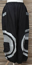 LAGENLOOK LINEN QUIRKY BOHO HAREM OVERSIZE TROUSERS/PANTS*BLACK/WHITE*XXL-XXXL