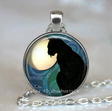 Moon and black cat Cabochon Glass Tibet Silver Chain Pendant Necklace HZ#01