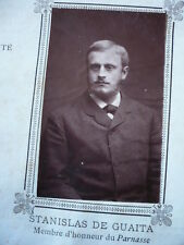 PHOTO ORIGINALE 1887  STANISLAS DE GUAITA ESOTERISME