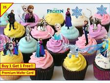 x 50 DISNEY FROZEN ELSA ANNA PREMIUM Cup Cake Toppers Edible Card STAND UP XMAS