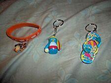 Summer Penguin & Sandal Keychains + Orange Best Penguin Charm Rubber Bracelet