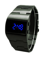 Ace Vintage Styling Blue LED Gunmetal Digital Fat Chunky Asymmetric Steel Watch