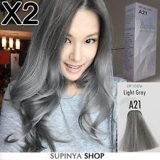 2 BOXES Berina Permanent Hair Color Cream Hair Style Dye Light Grey Silver A21..