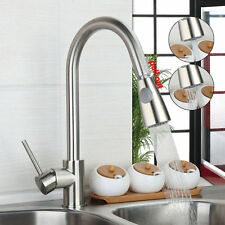 Pull Out Brushed Nickel Kitchen Sink Faucet Dual Swivel Spouts Mixer Tap