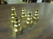"""LOT OF ~ 6 ~ SOLID BRASS AIR FITTINGS 1/4"""" NPT FEMALE FITS MILTON TYPE M COUPLER"""