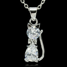 Women 925 Silver CZ Crystal Cute Cat Charms Necklace Pendant Xmas Gift