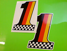 GERMANY Chequered No 1 Car Motorcycle Van Stckers Decals 2 off 102mm