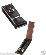 CIGAR Travel Case Holder Brown Leather Crocodile Finish w/ Flask Cutter