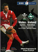 WALES v IRELAND 2005 RUGBY PROG - GRAND SLAM WALES