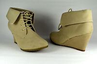 Damen Schuhe Stiefeletten Boots Stiefel Keilabsatz Beige Schnür G.36-41 A.8432