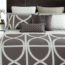 Hotel Collection 3 pc Twin TRANSOM DUVET COVER & SHAMS Charcoal Grey $360 New