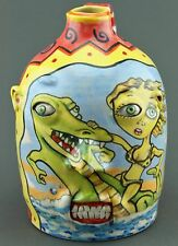 STACY LAMBERT FOLK ART POTTERY FACE JUG GIRL ALLIGATOR CAT POP MODERN ART