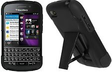 Amzer Dual Layer Hybrid Tough Armor Kickstand Case For BlackBerry Q10 - Black