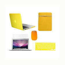 """5in1 Rubberized YELLOW Case for Macbook PRO 13"""" +Keyboard Cover +LCD +Bag +Mouse"""