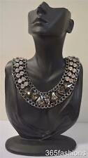 STATEMENT GLAM BLING DECO STYLE FAUX CRYSTAL RHINESTONE COLLAR NECKLACE CHARCOAL