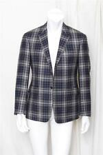 THOM BROWNE Navy Blue Plaid Wool 2 Button Blazer Sports Coat Jacket sz. Medium