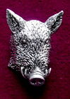 Male Chauvenist Pewter Boars Head Hunting Brooch Pin