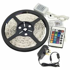 RGB 5M LED STRIP LIGHT KIT SMD 3528 + REMOTE + 12V ADAPTER NON-WATERPROOF SET
