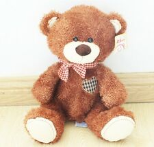 plush scarf brown teddy bear grid heart stuffed animal soft toys 40 cm