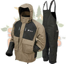Frogg Toggs Stone/Black Firebelly Jacket & Black Toadskin Bibs Rain Suit Gear XL