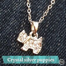 FREE GIFT BAG Animal Dog Silver Plated Crystal Necklace Chain Cute Puppy Jewelry