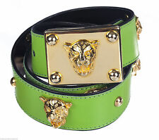 SIGNED ESCADA BRIGHT GREEN LEATHER W PANTHER GOLD TONE DETAILING-MADE IN GERMANY