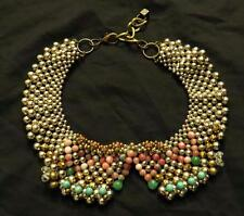 PAM HIRAN BEADED BIB NECKLACE ANTHROPOLOGIE Silver Turquoise Coral Blue Used