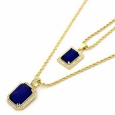 """14k Gold Plated Iced Mini Blu Stone CZ Pendant Set w/ 2mm 24"""" & 30' Rope Chains"""