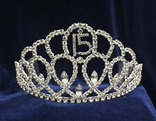 Rhinestones Tiara Sweet 15 Quinceanera w/Combs.Silver Crown. 3 1/8 Inches Tall