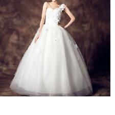 ONE SHOULDER FLOWERS APPLIQUE MESH & ORGANZA WHITE WEDDING GOWN