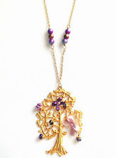 Handmade Chunky Wish Tree Pendant Necklace Purple Lilac Ribbon Butterfly Crystal