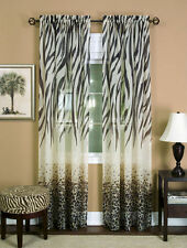"safari animal window curtain panel - zebra ,leopard 84"" L black / brown 1 panel"