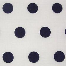 White Cotton Navy Blue Polka Dot Spot Fabric *Per Metre
