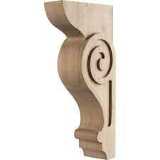 "Solid Wood- Transitional Scrolled Corbel- 4""Wide x 8"" Deep x 18"" Tall- # COR25-3"