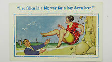 1950s Donald McGill Funny Saucy Postcard Stockings Garter Knickers Upskirt
