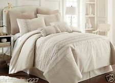Bedroom Queen 8 Piece Pleated Comforter Set Bed In A Bag Bedding Shams Pillows