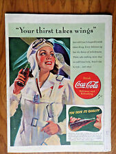 1941 Coke Coca-Cola Ad Lady Airplane Pilot Your Thirst Takes Wings